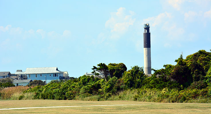 Oak Island Lighthouse is clearly visible from Fort Caswell