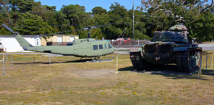 Tank and helicopter at Fort Fisher Air Force Rec Area
