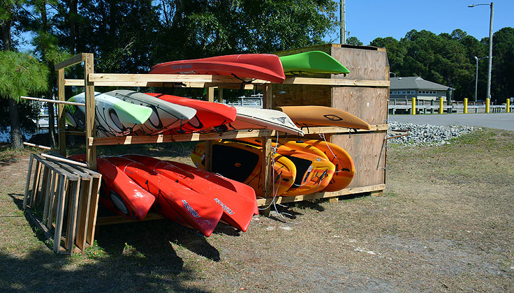 Kayaks for rent at Carolina Beach State Park