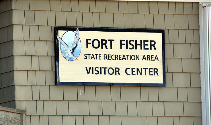 Fort Fisher State Recreation Area visitor center sign