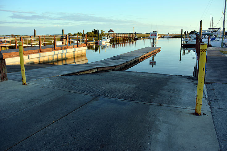 A boat ramp at Southport Marina