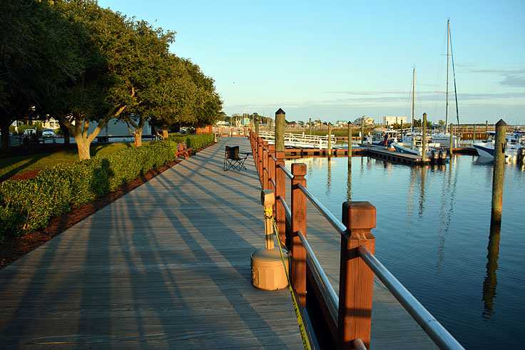 Waterfront walk at Southport Marina