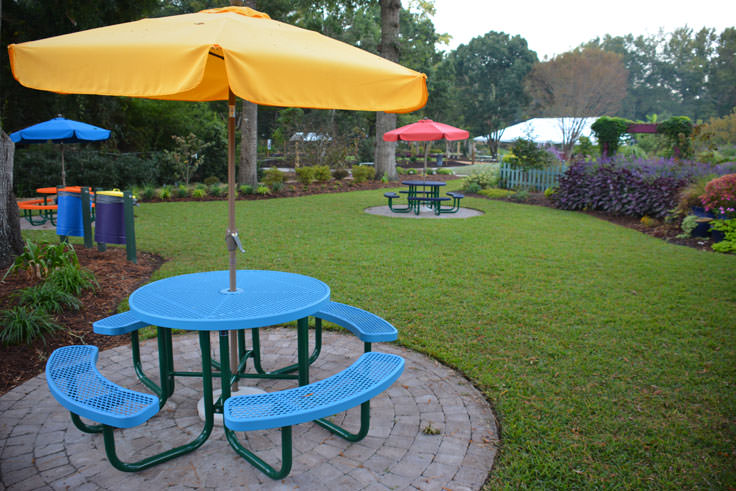 Picnic areas at New Hanover County Arboretum in Wilmington, NC