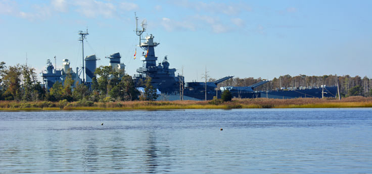 The USS North Carolina on the Cape Fear River in Wilmington, NC